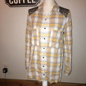 Free People Yellow Plaid Flannel Size Small